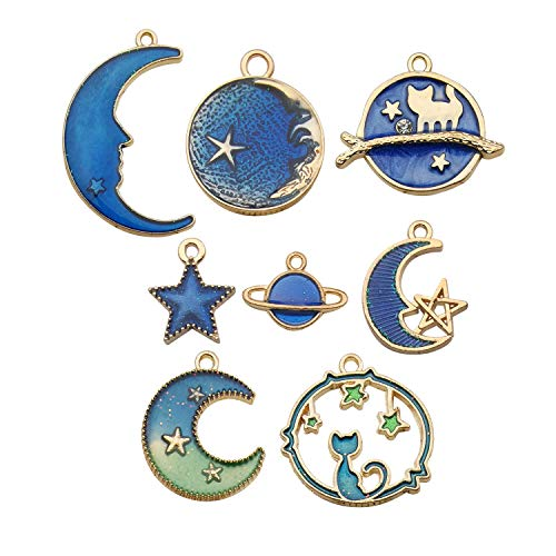 Youdiyla 40pcs Blue Enamel Moon Star Planet Charms Collection, Mix Metal Pendant Supplies Findings for Jewelry Making WM275