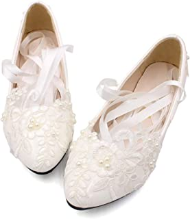 Women's Strap Wedding Flat Bridal Closed Toe Shoes Low Heel Flats with Pearl