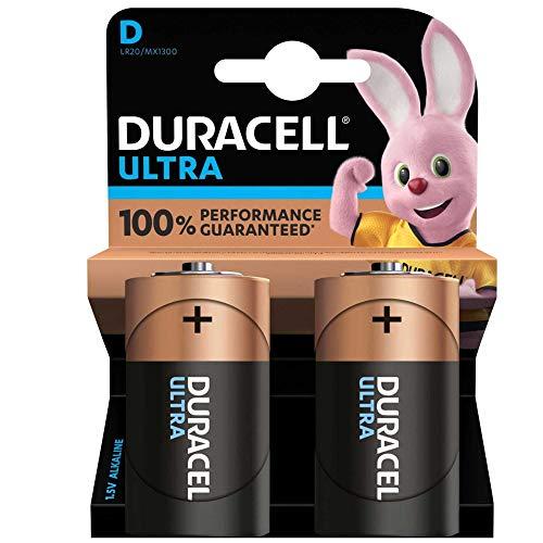 DURACELL Batterie Alkaline, Mono, D, LR20, 1.5V Ultra Power, Powercheck, Retail Blister (2-Pack)
