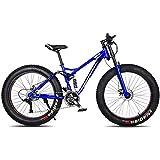 XRQ Fat Tire Mens Mountain Bike, Carbon 24' 26' Mountain Bike Full Suspension Trail Bike 24-Speed Dual Disc Brakes MTB Bike High-Tensile Steel Frame,Blue,26IN