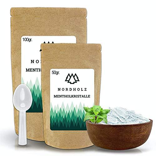 NORDHOLZ® Mentholkristalle [50gr] für Sauna in Premium Qualität aus 100{39b2d6b38a943114c628f4a6e2527f0ee64eeaab3c9c96c079a911b95df789e9} Minzöl - Befreit die Atemwege und sorgt für natürlich intensiven Duft in der Sauna - Menthol Kristalle Sauna Zubehör (50g)