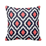 Gray,Coral Pink and Navy Blue Moroccan Pillow Home SofaCustom Pillowcase Soft Zippered Pillow Cushion Case Throw Pillow Covers 18X18 Inch