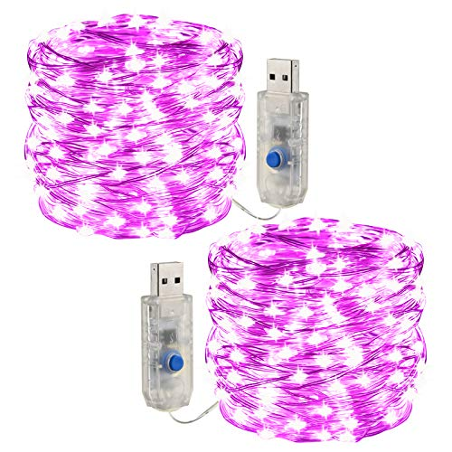 Fairy String Lights,LED String Light 10m/100led 8 Modes USB Plug in Powered Copper String Lights Waterproof for Outdoor/Indoor for Girls Bedroom, Party, Wedding, Christmas[2 Pack] (Pink)