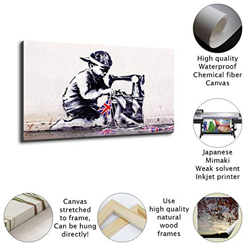 NOBRAND - Mural de pintura al óleo de alta definición, diseño de niño pequeño delante de la máquina de coser, lleno de estilo de pintura y personalidad, Enmarcado, 20x30inch