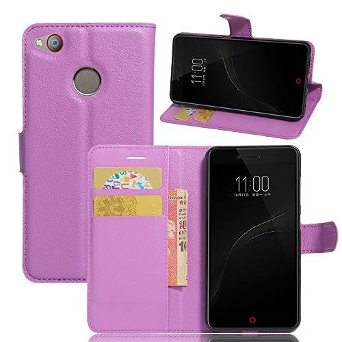 Tasche für ZTE Nubia Z11 Mini S Hülle, Ycloud PU Ledertasche Flip Cover Wallet Case Handyhülle mit Stand Function Credit Card Slots Bookstyle Purse Design lila