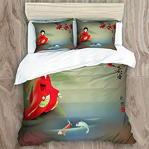 Funda de edredón suave de microfibra de 3 piezas – Geisha japonesa dieta sagrada Koi Carps en el momento del otoño- Incluye 1 funda de edredón + 2 fundas de almohada, 55 x 78 pulgadas