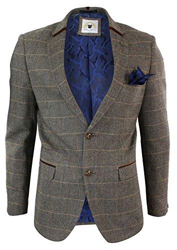 Marc Darcy Herrensakko Braun Fischgräte Tweed Design Eng Tailliert 2 Knopf Design