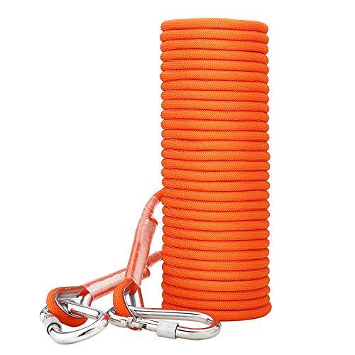 ENJOHOS 8mm Kletterseil, Sicherheitsseil mit Schraubkarabiner, Klettergurt Sicherungsseil für Wanderung Bergsteigen Camping Baumklettern (Orange, 10 M)