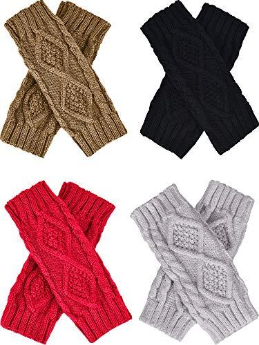 Tatuo 4 Pairs Womens Crochet Fingerless Gloves Knit Arm Warmers Sleeves Rhombus Gloves Thumb Hole Mittens (black, khaki,light gray,red)