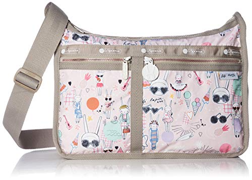 LeSportsac Fifi Lapin xxx, Fifi Pool Party Deluxe Everyday Crossbody Tasche + Kosmetiktasche, Style 7507/Color G621, Bunny Rabbit Zipper Pull & Pink Zipper