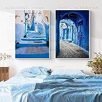 キャンバス絵画モロッコ装飾旅行写真ポスタープリント旧市街ブルー建築ファインアート家の装飾-30x40cmx2フレームなし