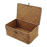 IHONYI Cesta de almacenamiento con tapa, cesta de almacenamiento trenzada a...