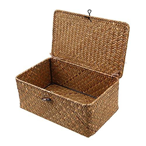 IHONYI Cesta de almacenamiento con tapa, cesta de almacenamiento trenzada a mano, cesta de mimbre natural, multiusos, para baño, cocina, organizador del hogar (grande)