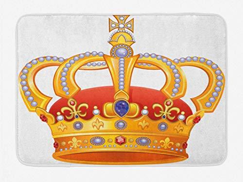 Alfombra de baño King, corona real con imagen de gema de estampado...