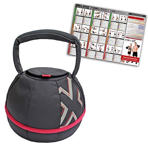 GYMBOX Bolsa de Arena/Pesas Rusas/Kettlebell/Fitness Bag/Power Bag | Entrenamiento Muscular/Funcional/de Pesas Libres | Puede Estar llenado con Arena | Negro, 10 kg |...