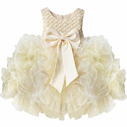 iiniim Robe de Cérémonie Enfant Fille Grande Noeud Papillion Robe sans Manches Princesse Robe Fleur des Enfants pour Baptême Anniversaire 3-24 Mois Beige 12-18 Mois