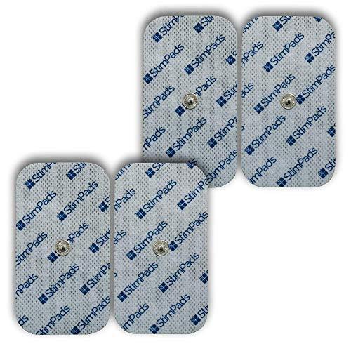 StimPads, 50X100mm, Pack de 4 Unidades de Alto Rendimiento, electrodos TENS - EMS de Larga duración con Conector Universal Tipo Snap de 3.5mm