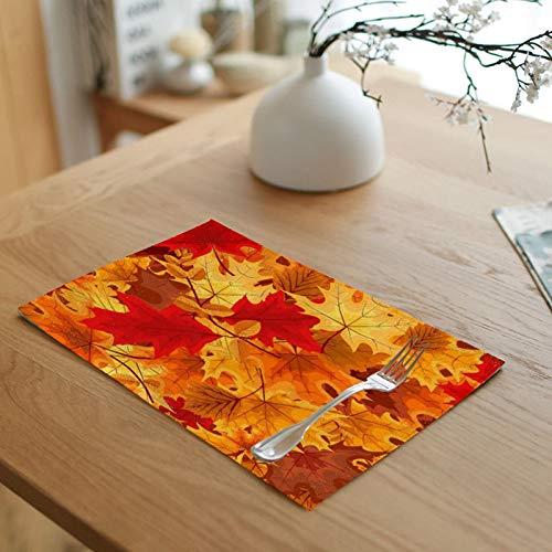 Daesar Mantel Individual de Tela Lavable Naranja Tapete Juegos de Mesa 45x32 cm,Salvamanteles Individuales 4 Hojas de Arce