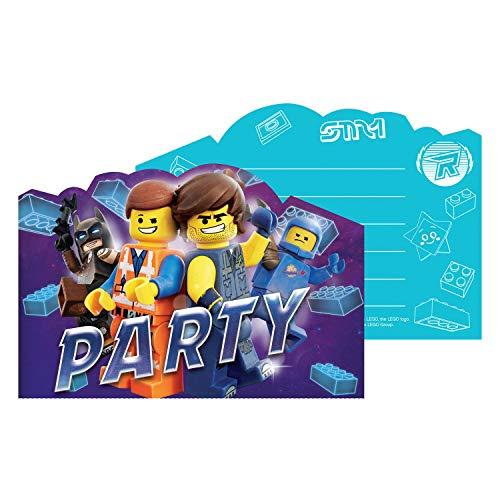 Amscan 9904647 - Einladungskarten Lego Movie 2, 8 Stück, Größe 10,7 x 15,8 cm, Karten mit blauen Umschlägen, Einladung, Film, Helden, Animation, Bausteine, Geburtstag, Mottoparty, Party, Karneval