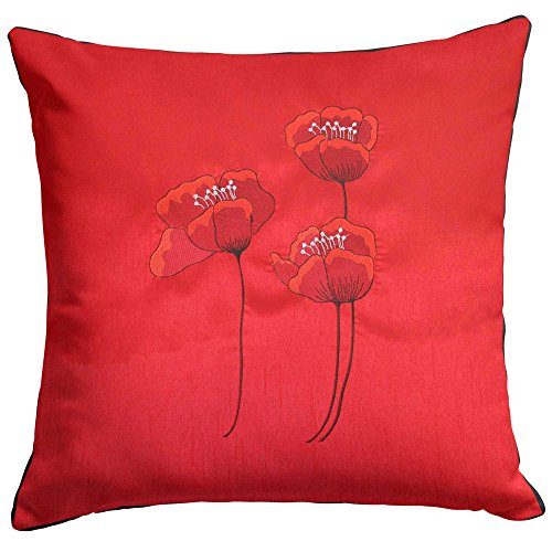 Red Cushion Cover Poppies - 22' x 22'