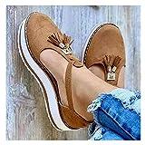 Sandalo da Donna Summer Platform Shoes Cinturino alla Caviglia Regolabile Zeppa Comfort Sandalo Moda Vintage Nappa Sandalo in Pelle, Rosa, 42EU