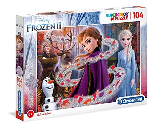 Clementoni Clementoni-20162-Glitter Disney Frozen 2-104 pezzi, puzzle bambini, Multicolore, 20162