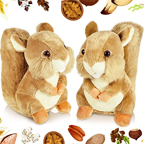 2 Pieces Plush Squirrel Doll Soft Stuffed Squirrel 8 Inches Brown Plush Stuffed Animal Toys for Birthday Party Decoration and Presents