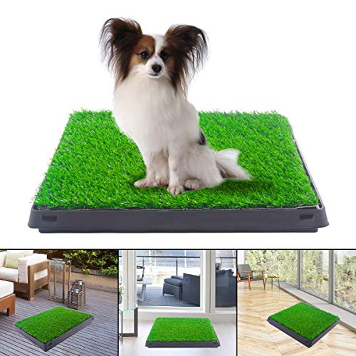 JAXPETY Puppy Pet Potty Training Pad Grass Toilet Trainer Tray Portable Dog Bathroom Mat Indoor Outdoor