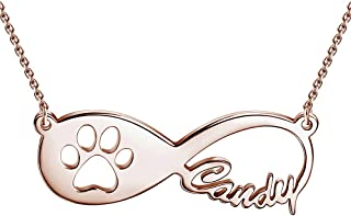 Personalized Name Necklaces for Women Pet Paw Print Infinity Nameplate Pendant 925 Sterling Silver Custom Gifts for Girls