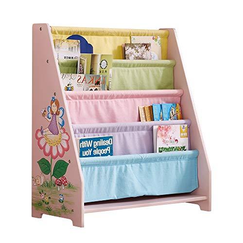 WODENY Kids Bookshelf Sling Children Books Rock Storage Wooden Bookcase for Child Toddlers Girls Boys Ages 3+ for Bedroom, Playroom, Kindergarden (Pink)