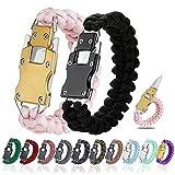 WEREWOLVES Paracord Knife Bracelet/Survival Knife Cord Bracelets, Tactical EDC Paracord Bracelet, Emergency Survival Gear for Hiking Traveling Camping, Paracord Bracelet for Men & Women (Black/Pink)