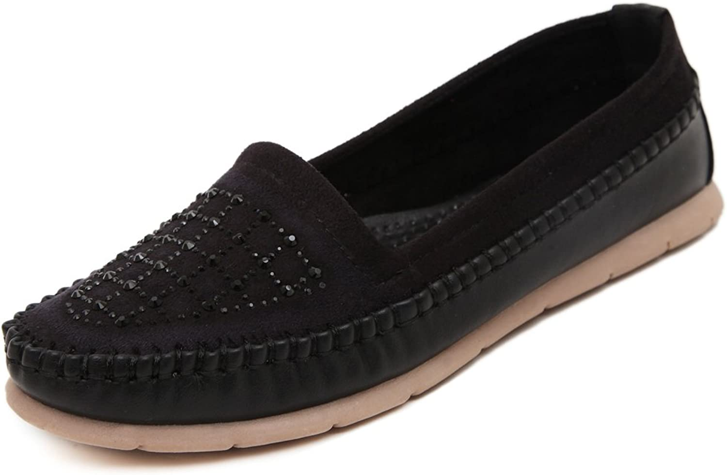 Adelina Women's Beaded Solid Boat Loafer shoes Driving Moccasin Black 40 EU   8.5-9 US