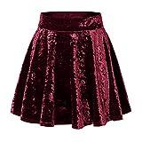 urban GoCo Mini Falda Elástica Patinadora de Terciopelo de Retro (Large, 2 Vino Rojo)