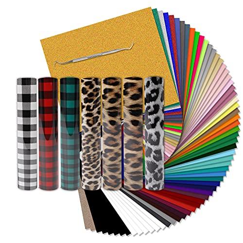 "HTVRONT HTV Heat Transfer Vinyl Bundle: 70 Pack 12""x10"" PU Iron on Vinyl Sheets for T-Shirt, 49 Assorted Colors HTV Vinyl with 2 Teflon Sheets & 1 Weeding Hooks"