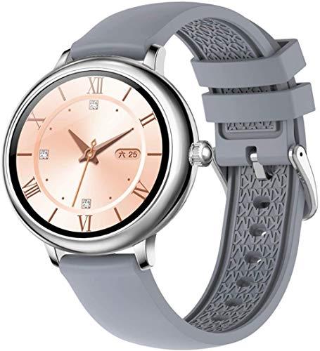 Reloj inteligente de las señoras IP67 impermeable ronda bluetooth Smartwatch, adecuado para Android LOS-Silver Silicona Band