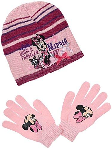 Disney Minnie Mouse winterset handschoenen muts in grijs of roze gestreept maat 52 of 54