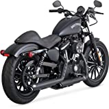 Vance & Hines Twin Slash Rounds Slip-On Exhaust (Black / 3') for 14-19 Harley XL883N