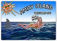 アミティアイランドはあなたを歓迎しますブリキサインヴィンテージ面白い生き物鉄の絵メタルプレートパーソナリティノベルティ