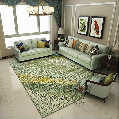 Huisdecoratie, Noors tapijt, voor woonkamer, eetkamer en slaapkamer, moderne slaapbank, wasbaar, met korte tapijten, met abstract patroon, aquarelgroen, 140 × 200 cm