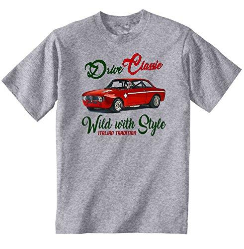 TEESANDENGINES Men\'s ALFA Romeo GT JUNIOR 1969 Grey T-Shirt Size Large