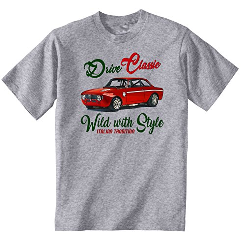 TEESANDENGINES Alfa Romeo GT Junior 1969 Camiseta Gris para Hombre de Algodon...