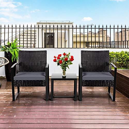 Yaheetech Gartenmöbelset 3 teilig Polyrattan Sitzgruppe Gartengarnitur Balkon-Set Lounge-Set Schwarz mit Sitzkissen - 6