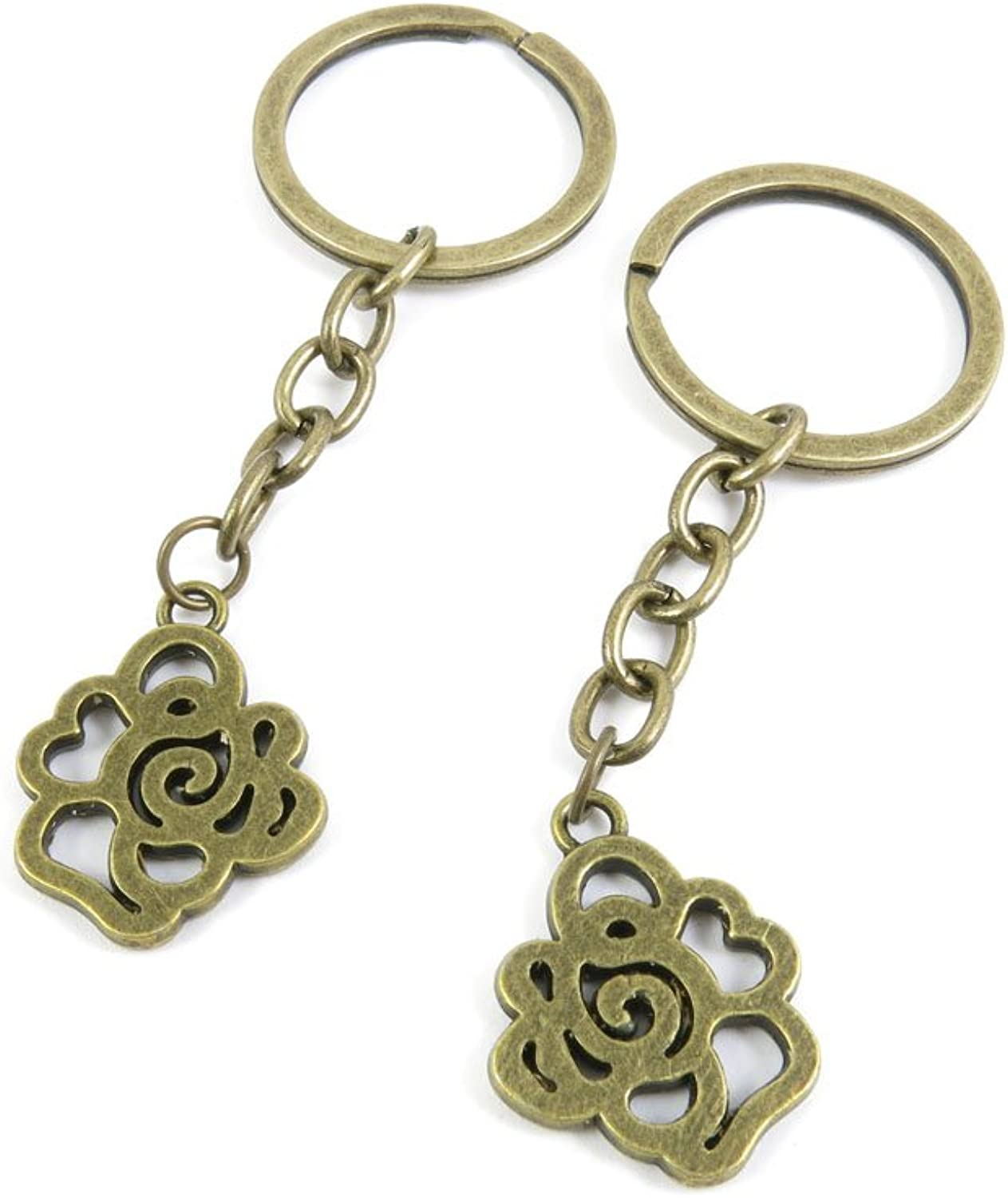 100 PCS Keyrings Keychains Key Ring Chains Tags Jewelry Findings Clasps Buckles Supplies A8WU3 pink