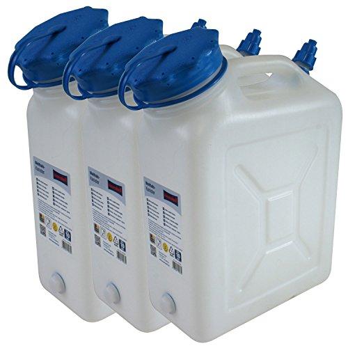 3x Weithals-Kanister 10 Liter PRO 3er Set Lebensmittelkanister Wasserkanister Liter