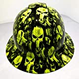 Wet Works Imaging Customized Pyramex Full Brim Hydro Dipped in Green Punisher Hard HAT with Ratcheting Suspension Custom LIDS Crazy Sick Construction PPE