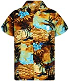 V.H.O. Funky Chemise Hawaiienne, Surf, Turquoise Marron, L