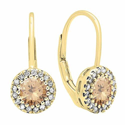 Pendientes colgantes de oro amarillo de 14 quilates, cada 6 mm, piedras preciosas redondas y diamantes blancos, estilo halo