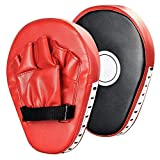 1 Pair Punching Pads Punch Focus Mitts Palm Pads Kick Karate Targets Pads for Boxing Training, MMA UFC Combat Jab Gloves Kicking Pads PU Leather Curved for Kids & Adults. (Red)