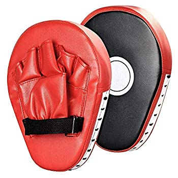 1 Pair Punching Pads Punch Focus Mitts Palm Pads Kick Karate Targets Pads for Boxing Training MMA UFC Combat Jab Gloves Kicking Pads PU Leather Curved for Kids & Adults  Red