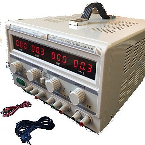 DOBO Alimentatore Stabilizzato da banco Duale Trasformatore lineare corrente professionale regolabile fino a 30V-60V e 5A-10A / Parallelo o Seriale